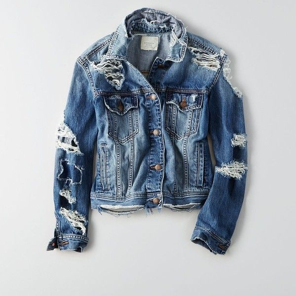 AE Destroyed Denim Jacket ($80) ❤ liked on Polyvore featuring outerwear, jackets, distressed jean jacket, american eagle outfitters jacket, blue jackets, blue jean jacket and distressed jacket