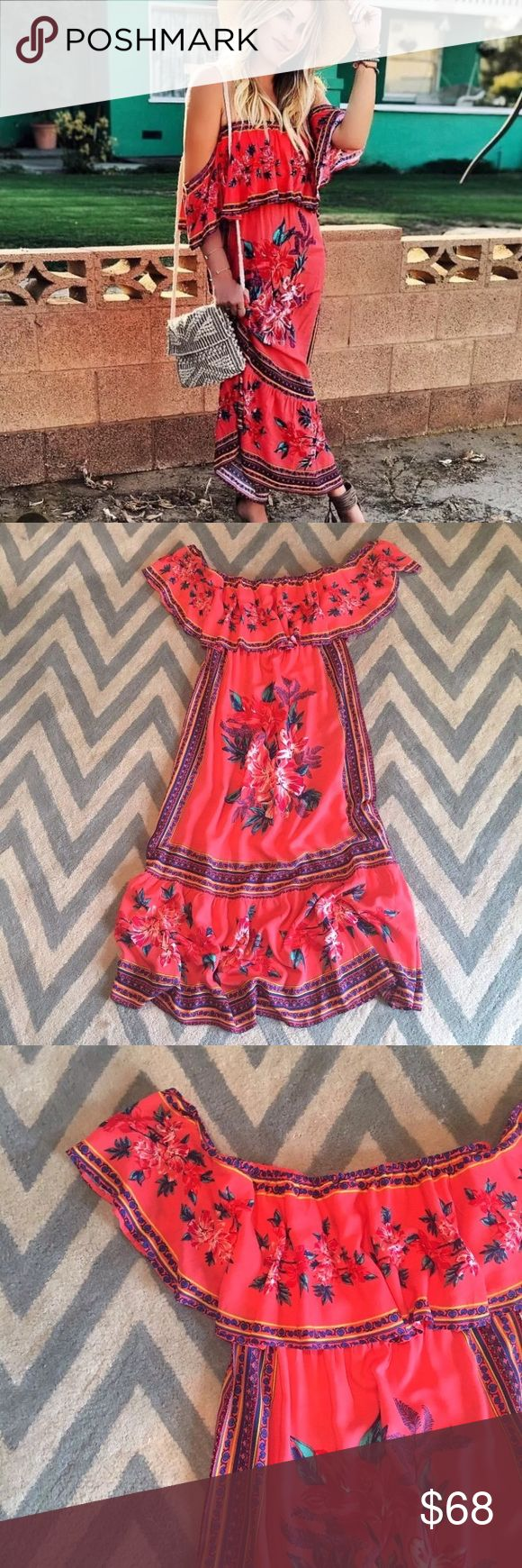 Anthropologie Off the Shoulder Coral Maxi Dress Brand new, never worn. Label: Flying Tomato from Anthropologie  Pit to pit: 16 inches  Length: 54 inches  Material: Rayon Anthropologie Dresses Maxi