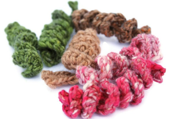 Cat Toy  Set of 3 Kitty Fusilli  Wool/ Cotton/ by KittyMineCrafts, $5.00    These Kitty Fusilli are great toys for kittens - my foster kittens love playing with them. In fact, they make great toys for shelter cats because they are free of catnip. The are simply crocheted corkscrew coils, roughly 3 inches long (unstretched). You can dangle them for your kitten or simply leave the toys on the floor for kitty fun time!