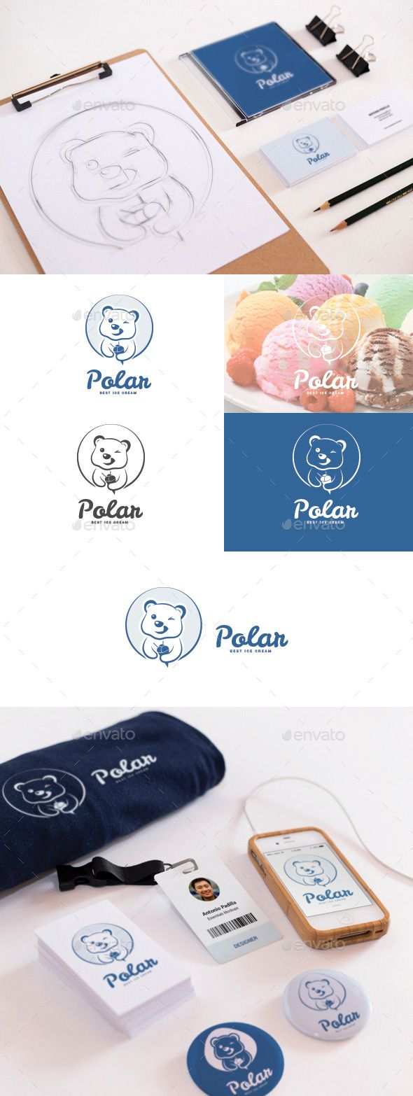 This logo design is a stylized Polar bear with ice cream. Possible uses: digital media, app, frozen yoghurt, ice cream bar, clothing brand, cold, refrigeration, beer, arctic, alaska, ice, wilderness, food, drink, beverage, refrigerator, winter, ski, skiing, travel, polar bears, tourism, retail, clothing and much more! This logo is recommended for for yogurt, ice cream or dessert products and places, say a bar or cafe.  #icecream #frozen #yogurt #logo #design