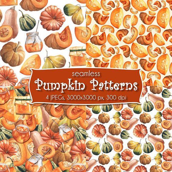 Watercolor Seamless Patterns Autumn Pumpkins