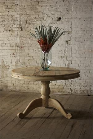 Large Bleached Mango Wood Round Dining Table