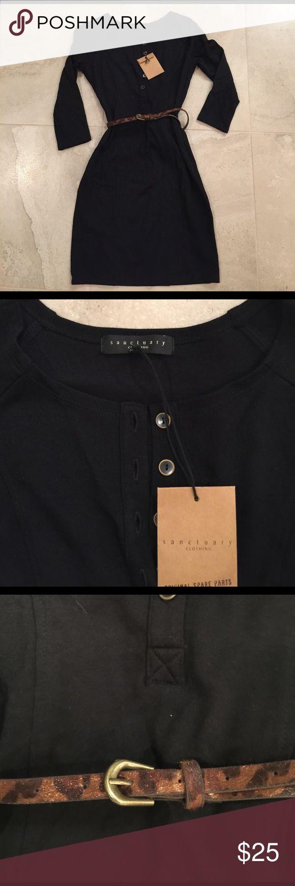 Black 5 button dress w animal print belt Black cotton 5 button front w animal print belt Sanctuary Dresses Long Sleeve
