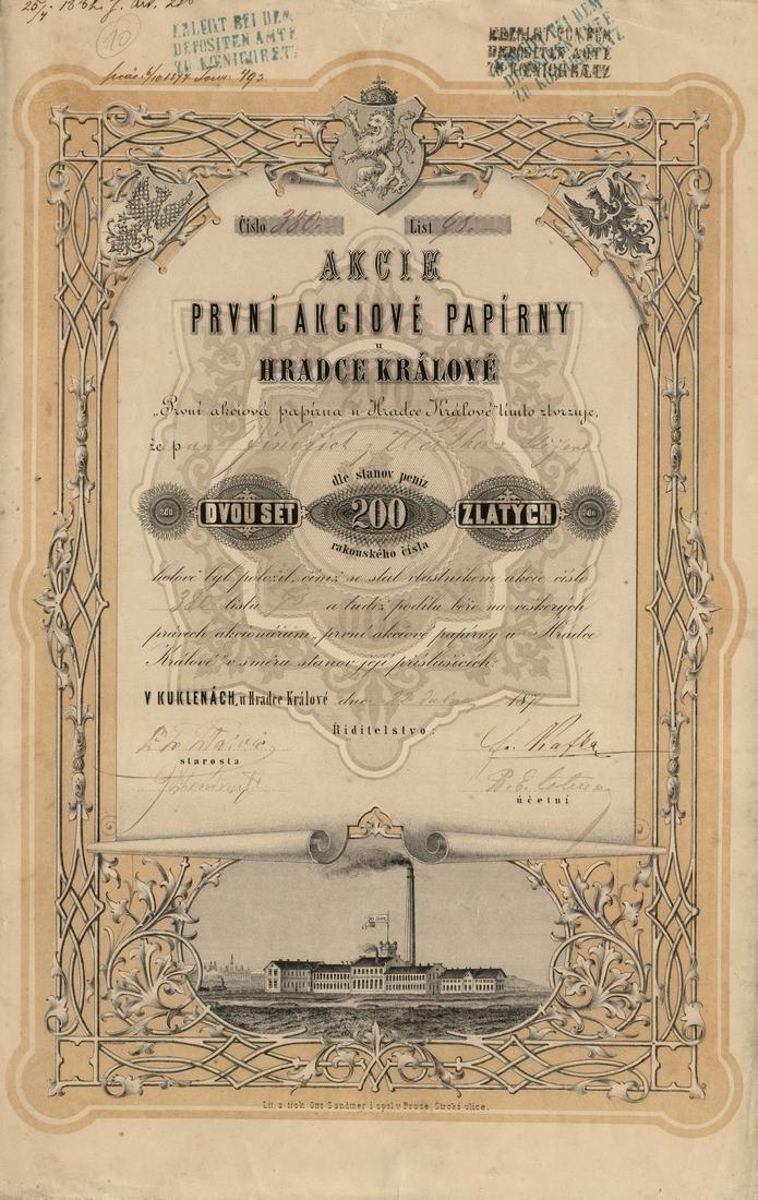 První akciová papírna u Hradce Králové (Erste Aktien-Papierfabrik bei Königgrätz). Akcie na 200 Zlatých. Kukleny u Hradce Králové, 1872.