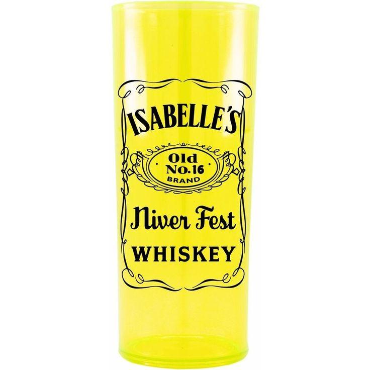 Copo Acrílico Personalizado Aniversário Jacki Daniels Amarelo Translúcido - ArtePress | Brindes, Canecas, Copos de Acrílico Personalizado