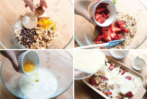 Strawberry Baked Oatmeal with Chocolate