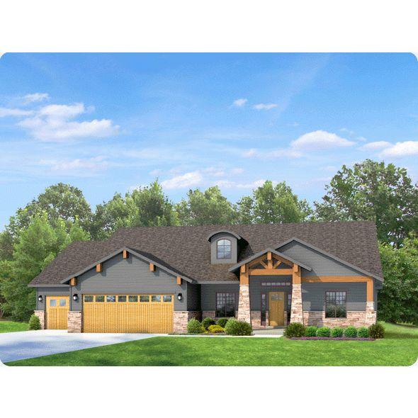 Uintah-A Rambler house plan on Quickhouseplans.com. 3 bed, 2.5 bath, 3 car garage.