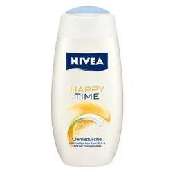 Nivea Happy Time Cream Shower Gel 250 ml shower gel by Nivea. $6.95. orange. Country of origin: Germany. 250 ml shower gel. Please read all label information on delivery.. Indulge your senses and inspire your mind under the shower. Let the decent fruity scent of orange blossoms vitalise your senses, while the silky cream-gel with bamboo milk turns into indulging soft foam - for a well-cared smooth sensation on your skin.
