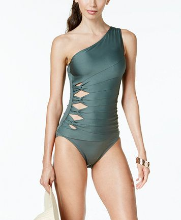 Image 1 of Carmen Marc Valvo One-Shoulder Cutout Tankini Top & Bottoms