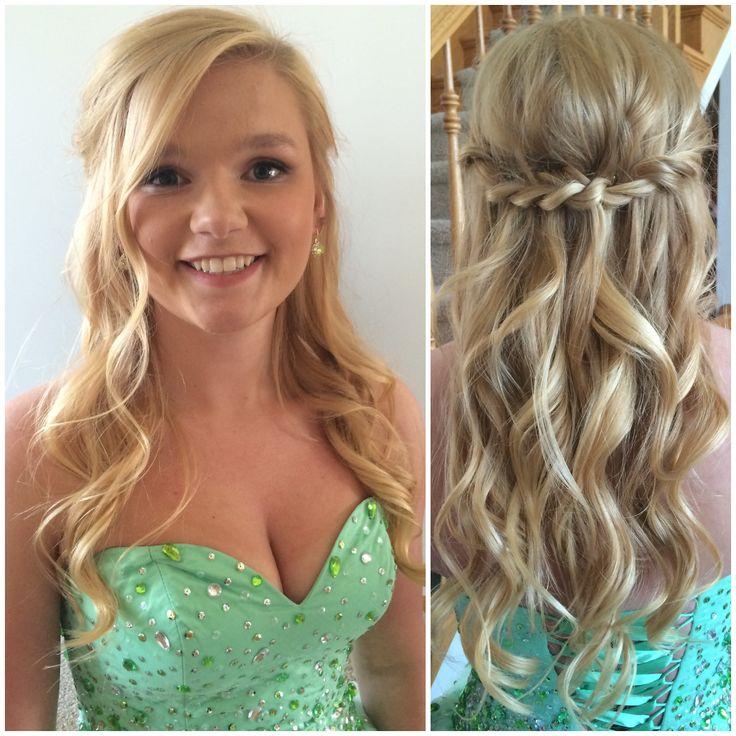 Prom makeup hair twist tieback