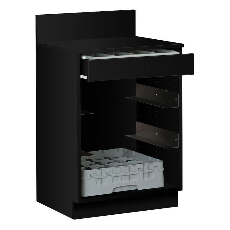 24'' Black Waitress Station with Drawer and 4 Adjustable Stainless Steel Rack Holders