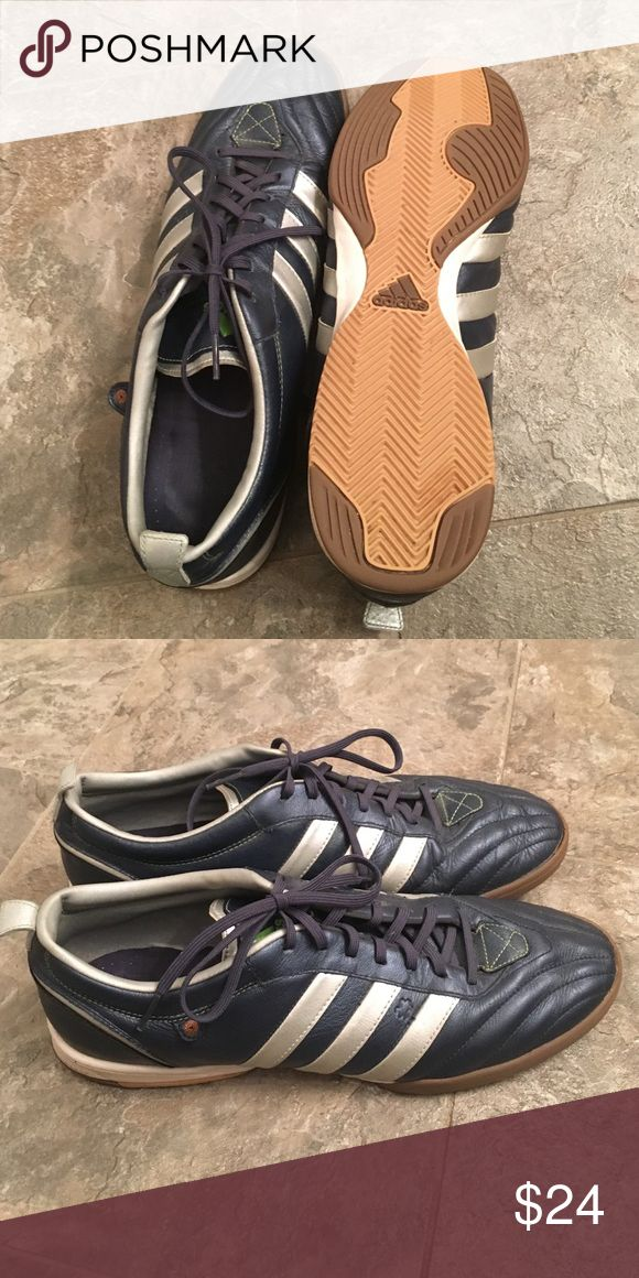 Men's Adidas Indoor Soccer ⚽️ Shoes These indoor soccer shoes are in great condition. They are metallic navy blue and silver. Perfect for indoor soccer or everyday wear. Adidas Shoes Athletic Shoes