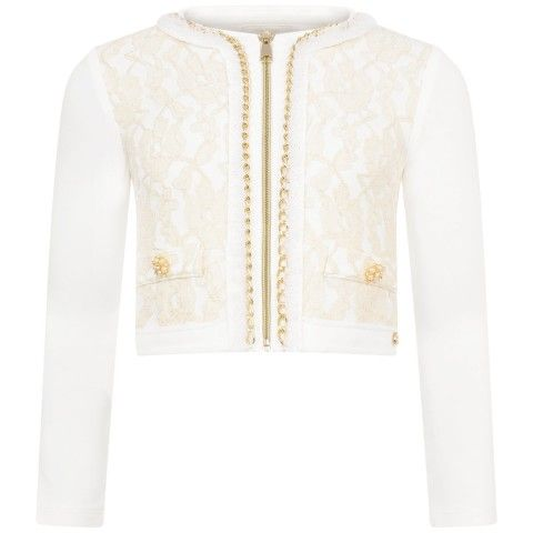 Miss Grant Ivory Jersey & Lace Jacket With Gold Chain Trim