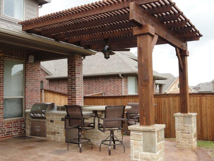 Arbors pergolas patio covers shade the dallas sun for Outdoor kitchen pergola ideas