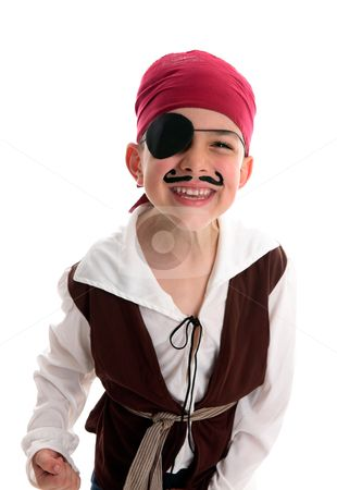 Happy boy pirate costume stock photo, A happy young  boy wearing a pirate costume.  White background. by Leah-Anne Thompson