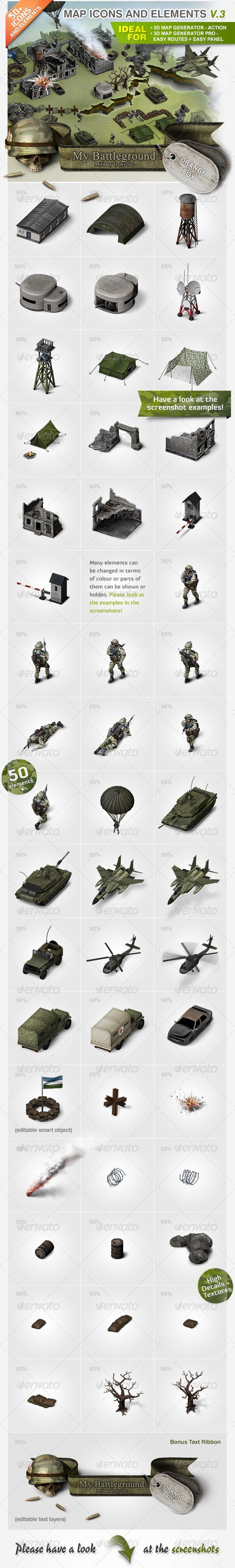 "Map Icons and Elements - V.3 Military Set by Orange_Box Please note: This kit does not fit the new�D Map Generator 2 �20Isometric� Map Icons and Elements �20V.3 Military Set The ""Map Ico"