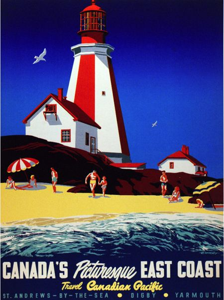 Vintage Canadian Pacific travel poster for Canada's East Coast.  Via the Canadian Design Resource.