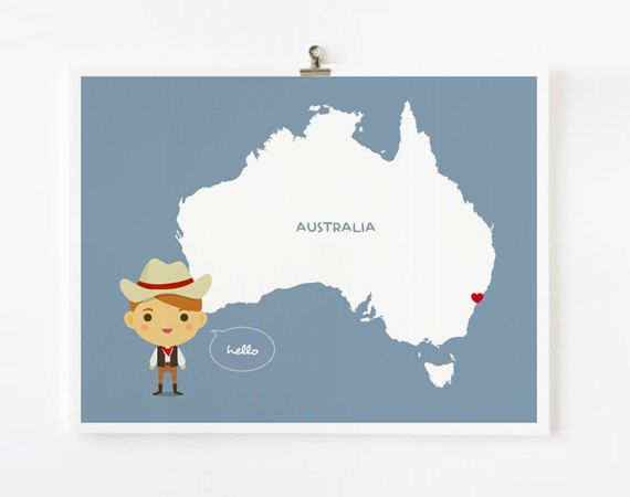 Australia Map Personalized Children Decor Custom with by loopzart, $19.00