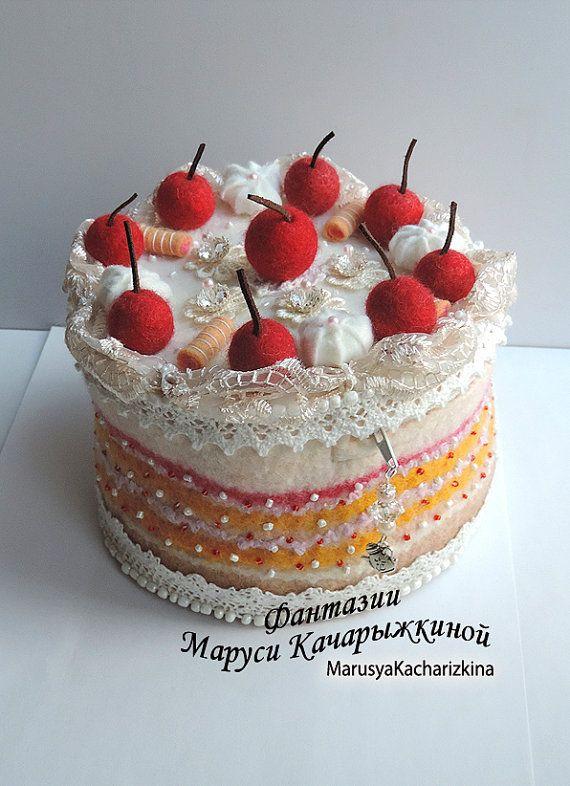 Handmade felted pouch cake Wool purse cake by MarusyaKacharizkina