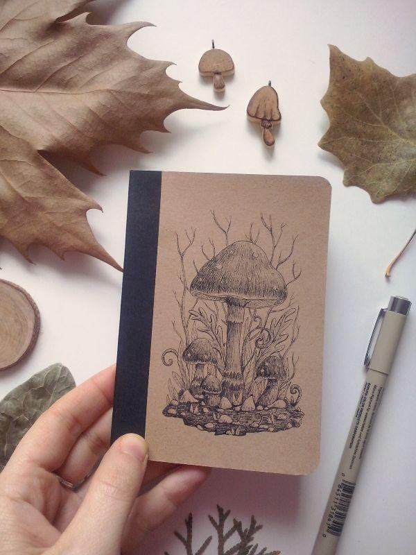 Mushroom fantasy ink drawing by charlotte lyng