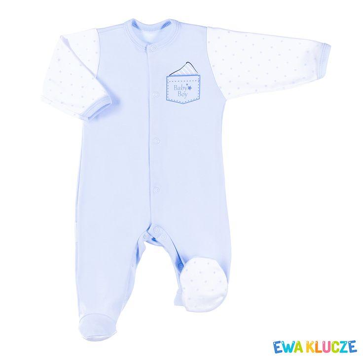 EWA KLUCZE, kolekcja CLASSIC BABY, niebieski pajac dla chłopczyka, ubranka dla dzieci, EWA KLUCZE, CLASSIC BABY collection, blue baby boy sleepsuit, baby clothes