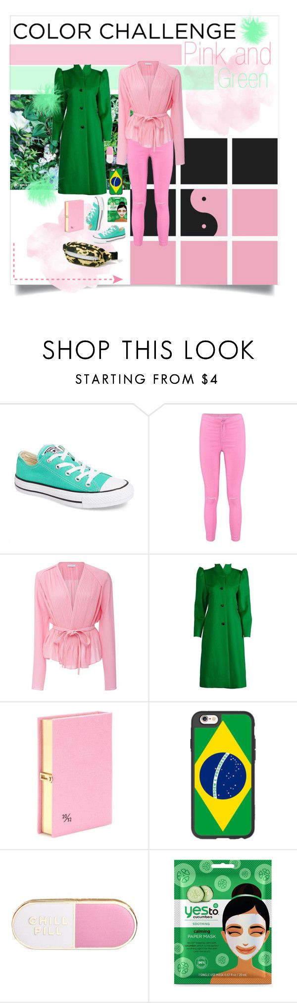 """""""Colour challenge"""" by hazznboobear ❤ liked on Polyvore featuring Converse, Boohoo, Carven, Olympia Le-Tan, Casetify, ban.do, Yes to Cucumbers, A BATHING APE, colorchallenge and greenandblush"""