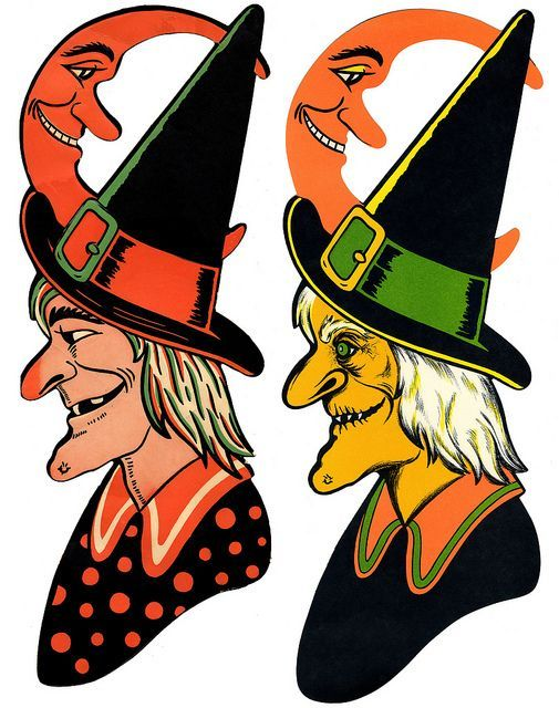 vintage halloween see more 1 1941 he luhrs witch embossed die cut decoration size 24 - Halloween Vintage Decorations