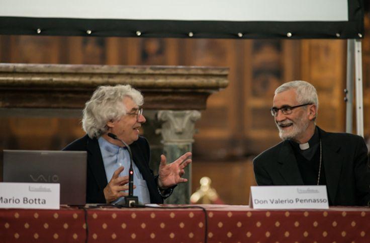 L'architetto Mario Botta e l'arcivescovo di Vercelli Mons. Marco Arnolfo
