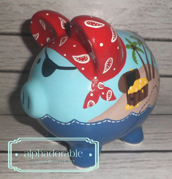 SMALL artisan hand painted ceramic personalized piggy bank ~ Pirate themed, navy, blue, green, red bandana
