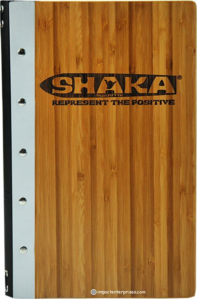 Shaka - This bamboo menu cover has aluminum accent bands, and a genuine leather spine.  The logo is laser engraved deeply for a stronger contrast and increased visibility.