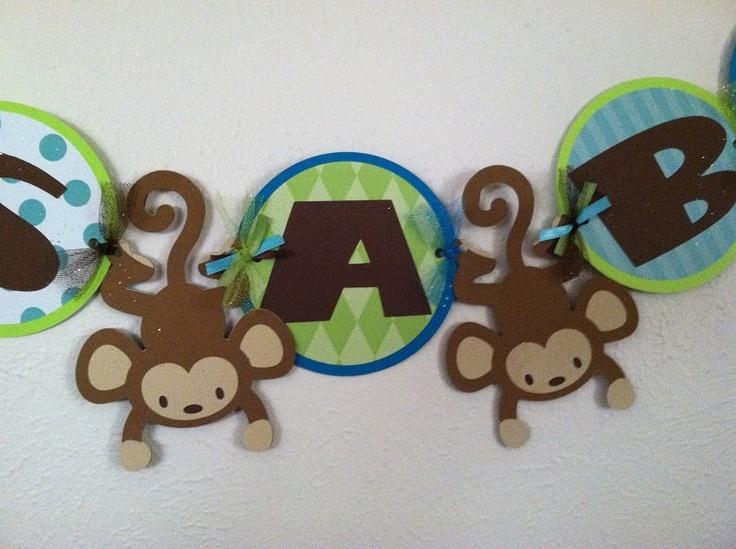 monkey baby shower banner by ParkersMommy17 on Etsy, $15.00