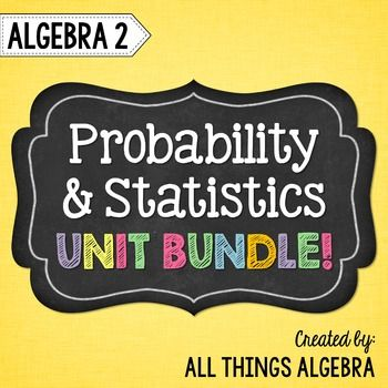 Probability and Statistics (Algebra 2 - Unit 11)This bundle includes notes, homework assignments, two quizzes, a study guide and a unit test that cover the following topics: The Fundamental Counting Principle Permutations Combinations Theoretical Probability Probability of Independent and Dependent Events Conditional Probability The Binomial Theorem Binomial Probability Measures of Center: Mean, Median, Mode Measures of Variation: Mean Absolute Variation, Standard Deviation, and Variance…