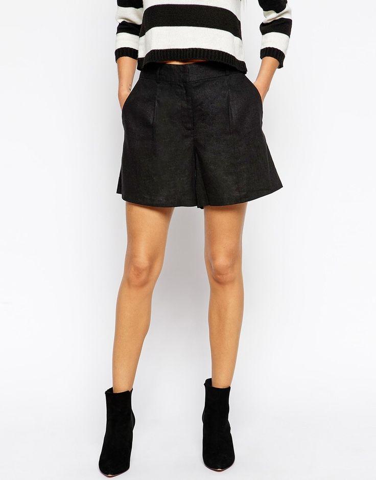 Imagen 4 de Pantalones cortos de lino con pliegue de ASOS