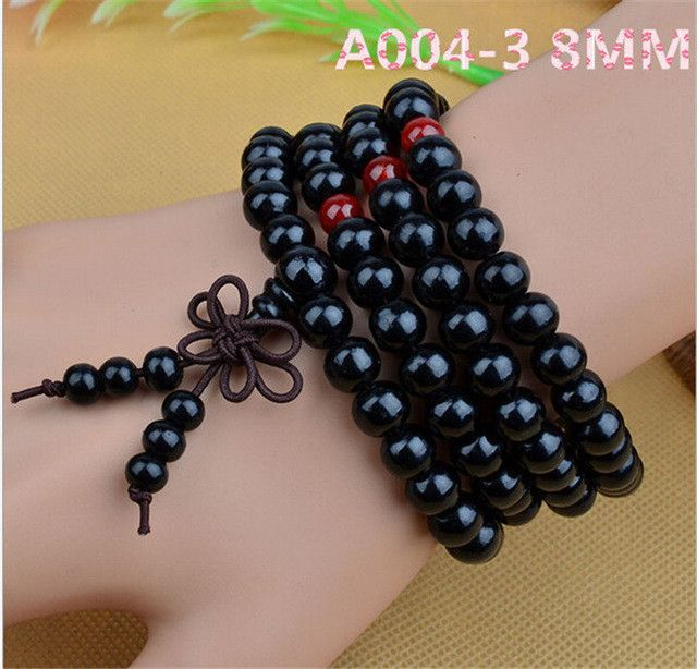 Sandalwood Buddhist Buddha Meditation 6mm 108 Prayer Bead Mala Bracelet Necklace free shipping