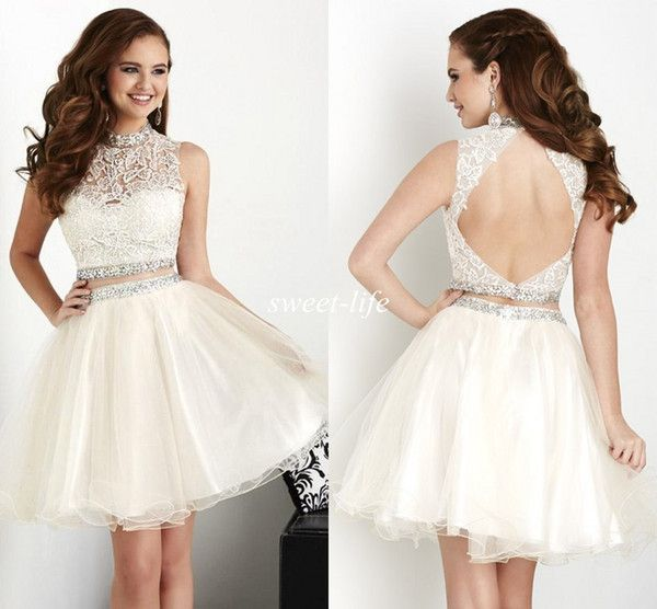 Ivory Two Pieces Homecoming Dresses 2017 Cheap Beaded Backless Tulle Lace High Neck Under $100 8th Graduation Dresses Short Party Prom Dress Homecoming Dresses Sale Homecoming Dresses Websites From Sweet Life, $75.62| DHgate.Com