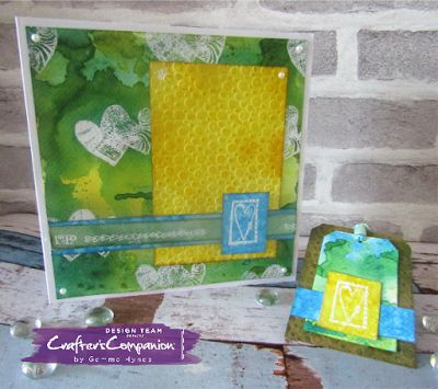 Card and tag using the free gifts from Crafter's Inspiration Issue 13 #crafterscompanion #craftersinspiration #inkykitty #distressink