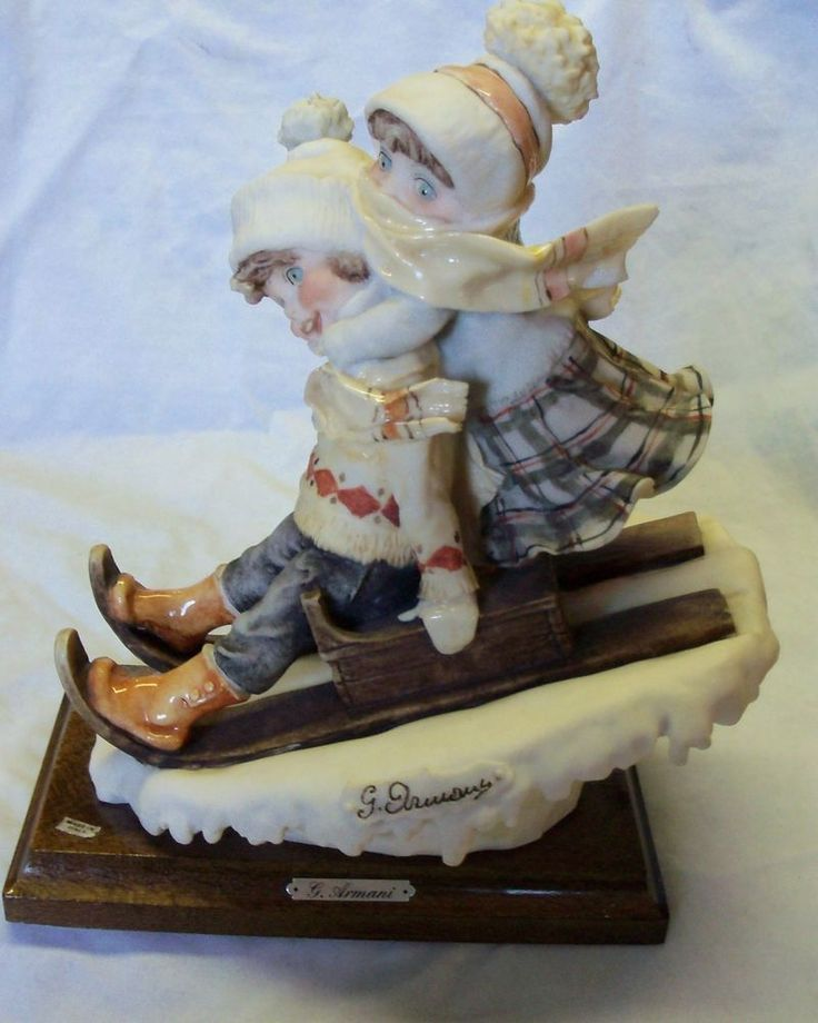giuseppe armani children sledding figurine 1982 italy signed for jackie this one 39 s for you. Black Bedroom Furniture Sets. Home Design Ideas