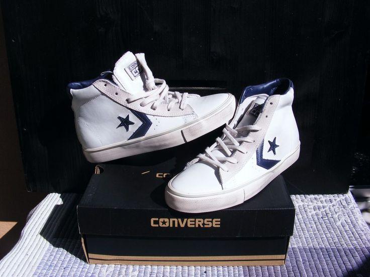 Converse 38 Pro Leather Vulc Mid scarpa uomo stringata pelle bianca BLU UNISEX