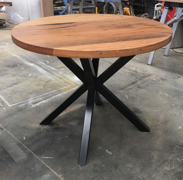 Pin By Timber Revival On Our New Recycled And Reclaimed: Recycled Messmate Dining Table With Black Cross Metal Legs