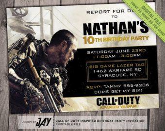 COD Advanced Warfare Birthday Invitation - Call of Duty ...