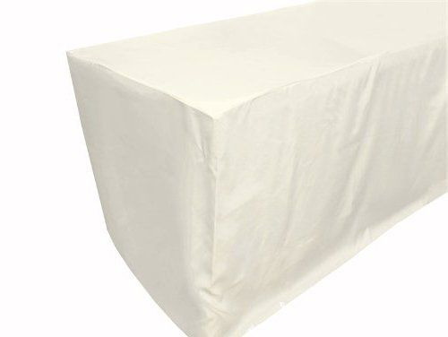 URBY 5' ft Fitted Tablecloth Polyester Wedding Banquet Event Table Cover Ivory