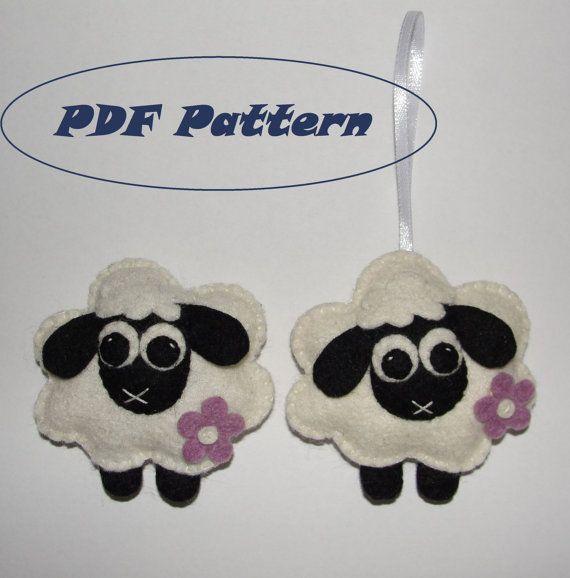 Felt Sheep Magnet or Ornament Pattern  Magnet by NitaFeltThings