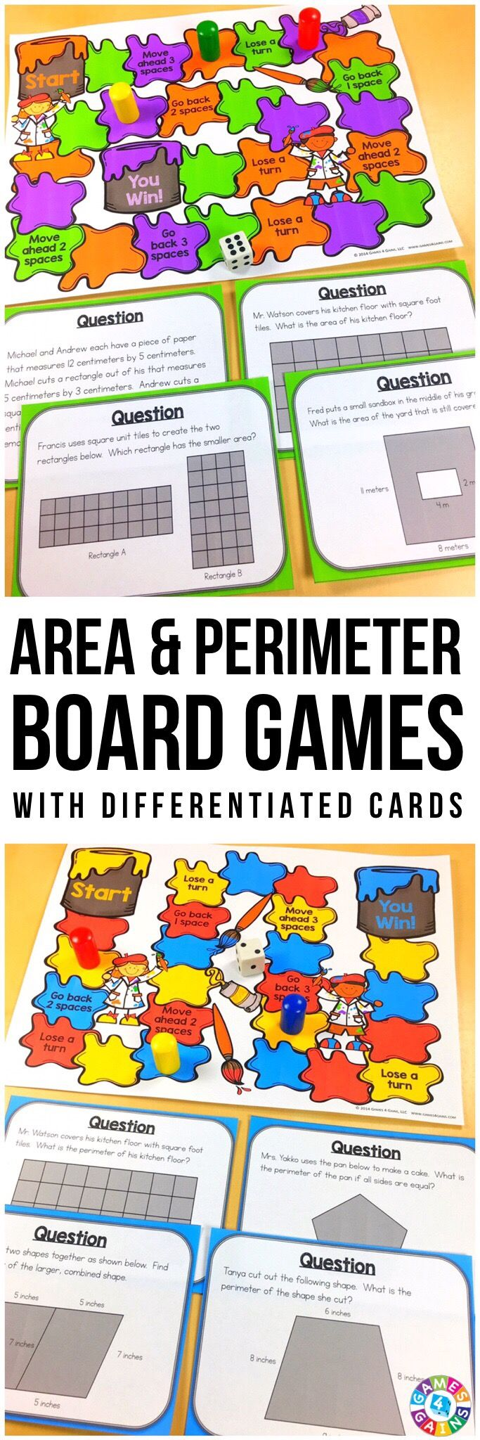 """LOVE the differentiated levels and approaches provided in these area and perimeter problems!"" This Area & Perimeter Games Bundle includes 2 different board games for practice with finding the area of rectangles and the perimeter of polygons. Each game includes 36 word problem game cards and a game board. These games support 3rd grade Common Core standards 3.MD.5, 3.MD.6, 3.MD.7, and 3.MD.8 as well as 4th grade Common Core standard 4.MD.3."