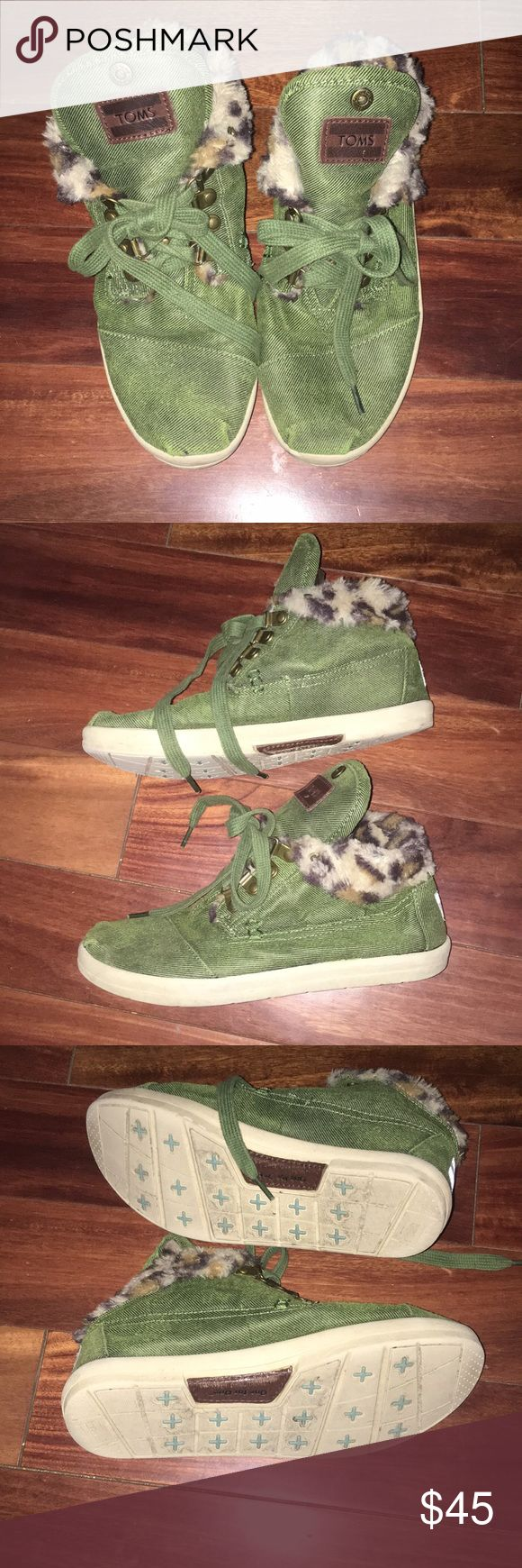 Super cute green and leopard Toms In good condition green and leopard toms size 7 Toms Shoes Sneakers
