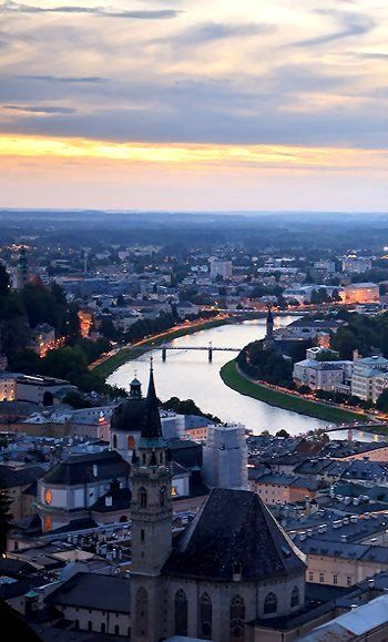 The old town of Salzburg at dawn - Salzburg, Austria                                                                                                                                                                                 More