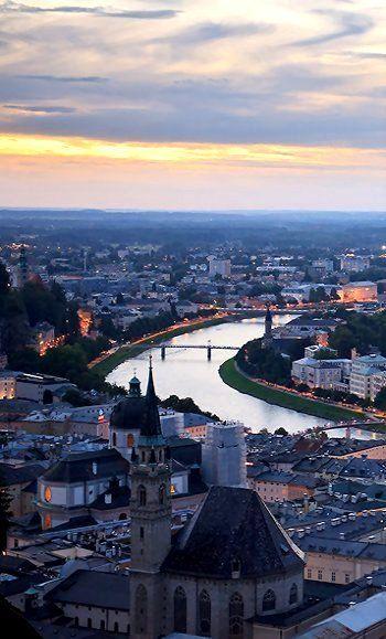 The old town of Salzburg at dawn - Salzburg, Austria