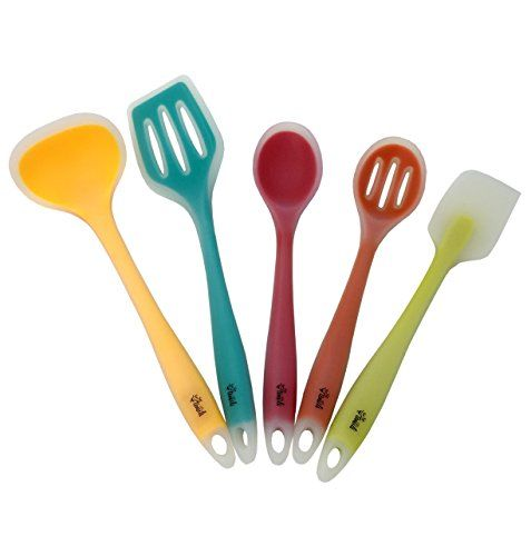 Silicone Cooking Utensils Set of 5 for the Kitchen, One-Piece Tools for Long-Lasting Strength & Hygiene Safety, Colorful Core Utensil Pack, Heat Resistant for Nonstick Pans by YumYum Utensils. For product info go to:  https://all4hiking.com/products/silicone-cooking-utensils-set-of-5-for-the-kitchen-one-piece-tools-for-long-lasting-strength-hygiene-safety-colorful-core-utensil-pack-heat-resistant-for-nonstick-pans-by-yumyum-utensils/