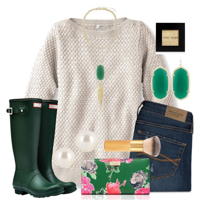 """Hunter Green"" by nhumphrey ❤ liked on Polyvore featuring L.L.Bean, Abercrombie & Fitch, Kendra Scott, Hunter, Bobbi Brown Cosmetics, Kate Spade, Henri Bendel and tarte"