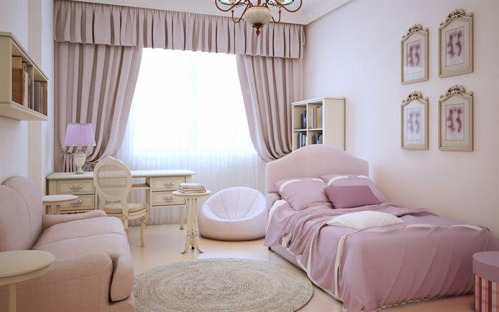 Lataa kuva Moderni muotoilu, lasten huoneen sisustus, sisustus tytön, lasten makuuhuone