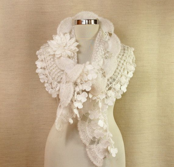 Pure Love / Crochet Wedding Shawl White Bridal Shawl by ...